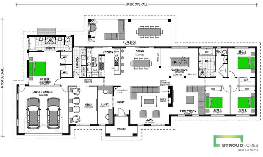 Koru 348 Classic 4 Bedroom Floor Plan