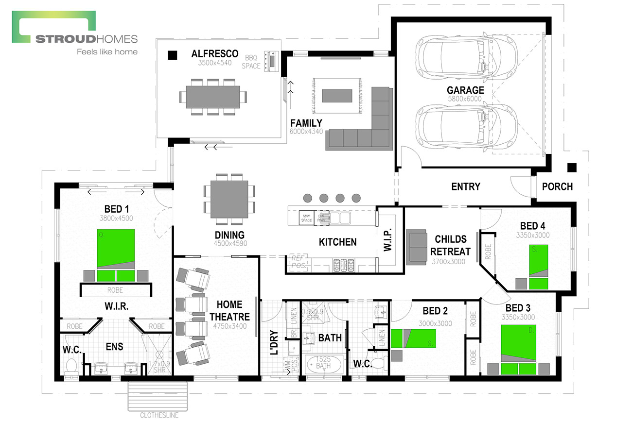 Milford 256 Floor Plan - Option One