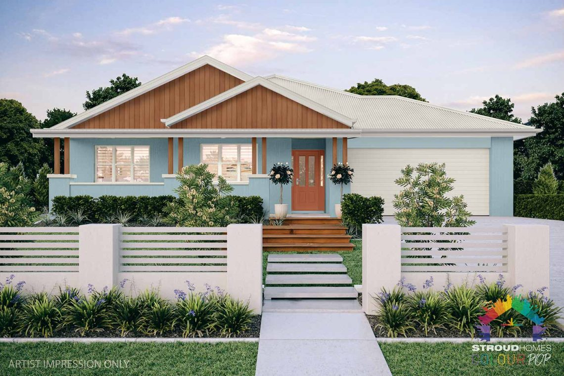 Colour Pop Stroud Homes NZ Milford 256 Federation Facade Rendered Option (High Res) - Blue Shell, Warmth Door, Dark Tasman Cladding - Surfmist Roof & Fascia