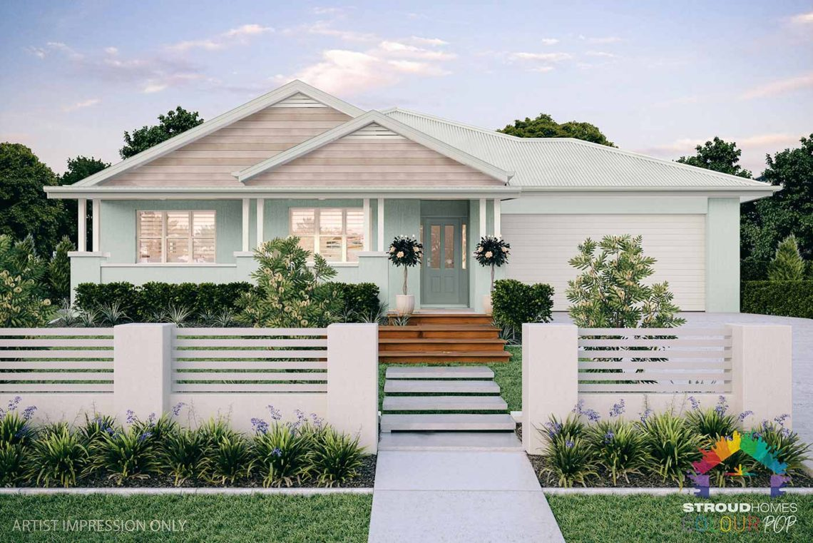 Colour Pop Stroud Homes NZ Milford 256 Federation Facade Rendered Option (High Res) - Celestial Ocean with Rhino Door, Tasman Cladding & Vents