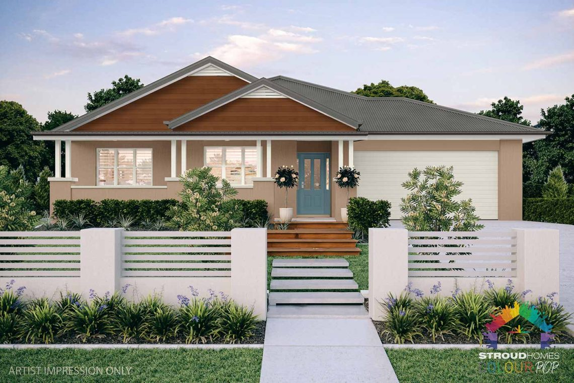Colour Pop Stroud Homes NZ Milford 256 Federation Facade Rendered Option (High Res) - Coffee Clay with Undersea, Dark Tasman Cladding - Woodland Grey Roof & Vents