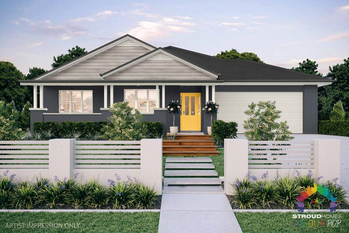 Colour Pop Stroud Homes NZ Milford 256 Federation Facade Rendered Option (High Res) - Ticking, Baraby Coast Door, White Birch Cladding with Vents - Monument