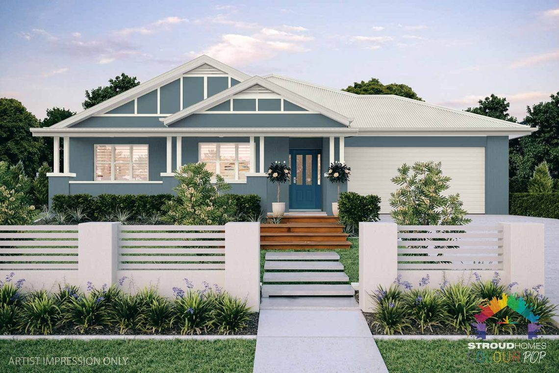 Colour Pop Stroud Homes NZ Milford 256 Federation Facade Rendered Option (High Res) - Undersea Render, Dark Border, Vents Shown - Ocean Blue Roof
