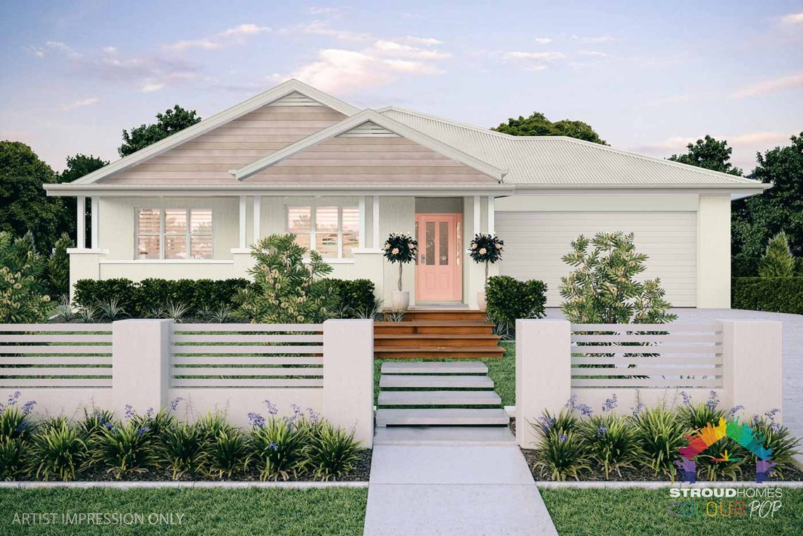 Colour Pop Stroud Homes NZ Milford 256 Federation Facade Rendered Option (High Res) - Wattyl Cheery, Tranquil White Wattle with Tasman Horiztonal Cladding