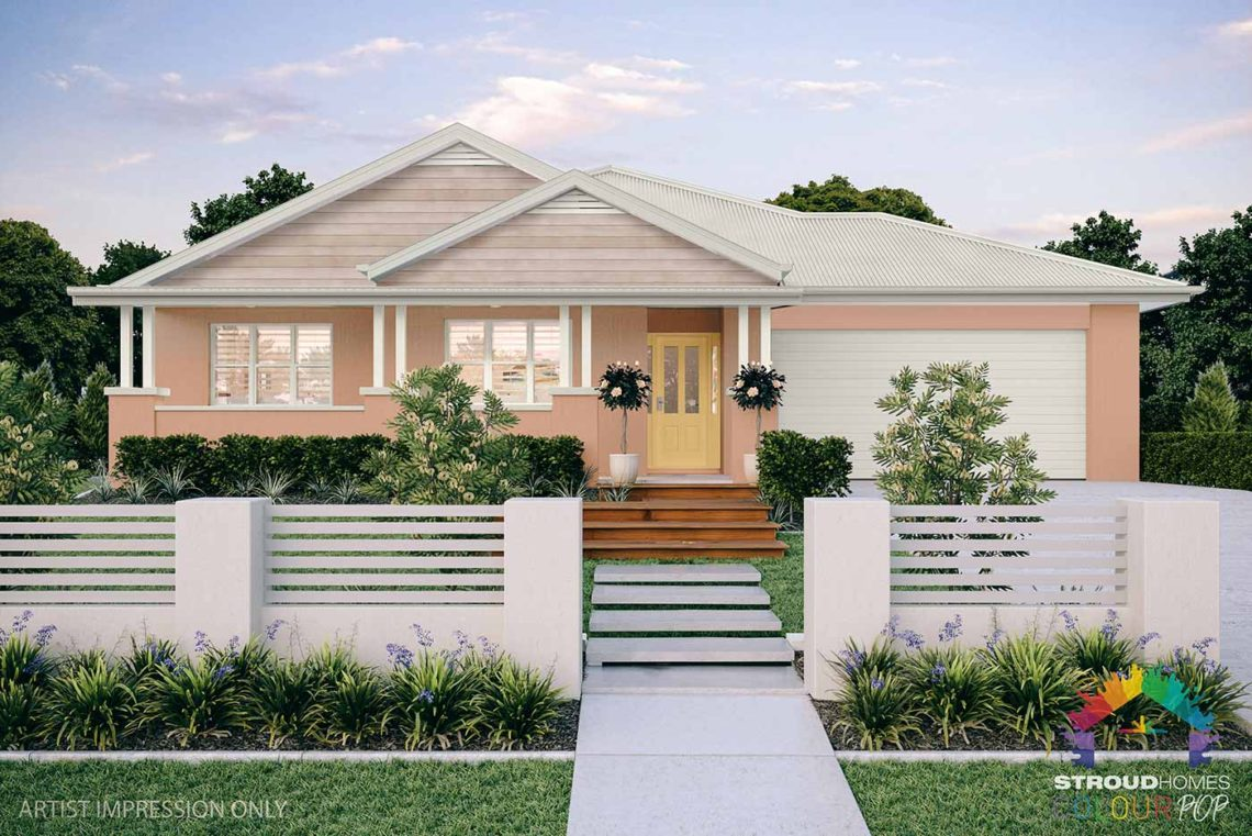 Colour Pop Stroud Homes NZ Milford 256 Federation Facade Rendered Option (High Res) - Yolande with Soft Chamois, Tasman Cladding with Vents