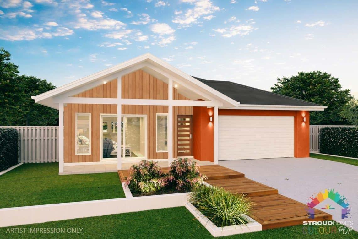 Colour Pop Stroud Homes NZ Tui 227 Sands Facade (High Res) - Bright Delight Dulux with White Oak Selekta Cladding 23.07.20